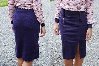 Dámská elegantní sukně TO THE CITY a jak pracovat smateriály jako je strečový semiš