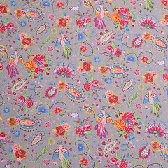 e1230e288227 Bavlnený popelín kvetovaný s pávmi