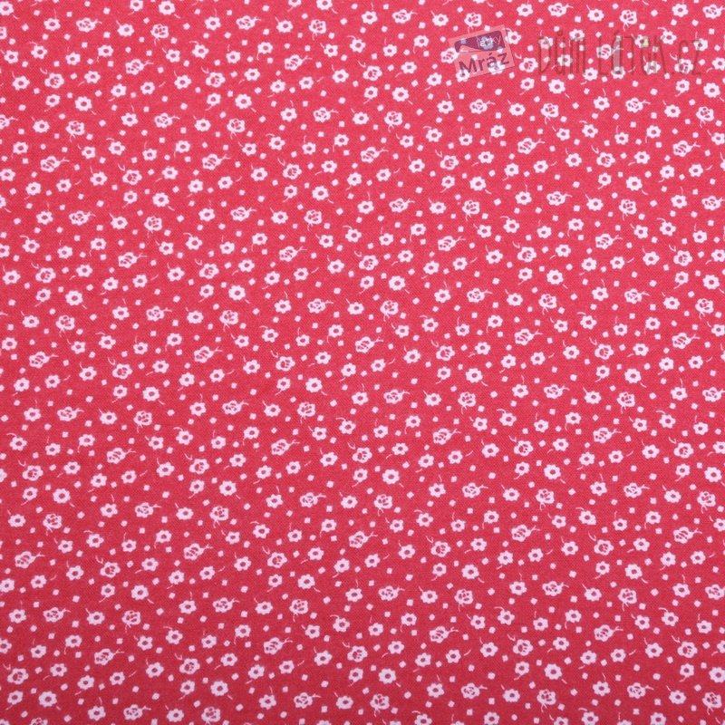 Bavlněný flanel červený s kytičkami  e56e4e26a2f