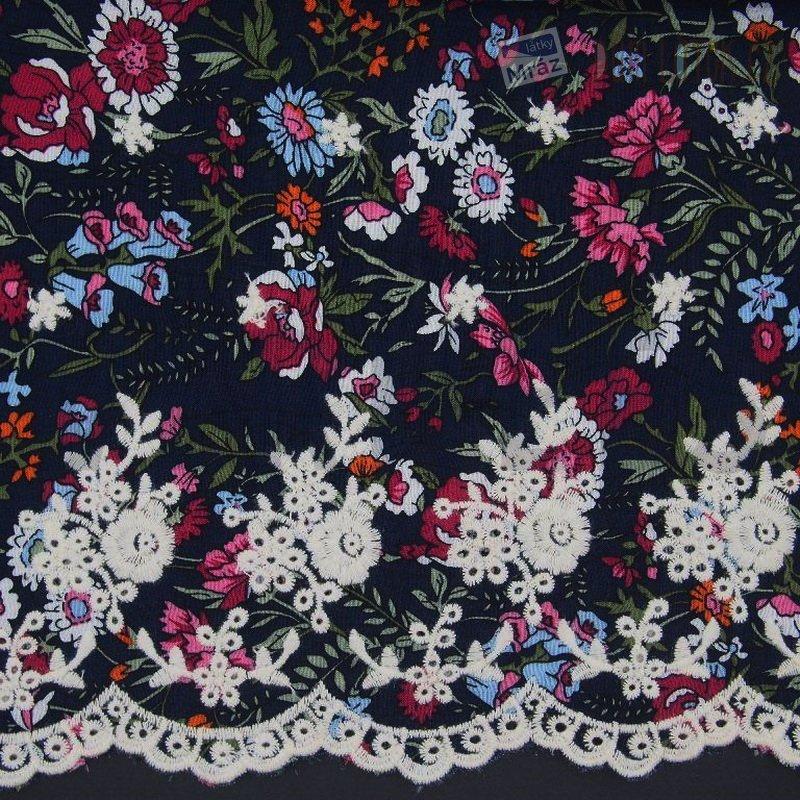 Viskózová bordura s květy  41325e69ced