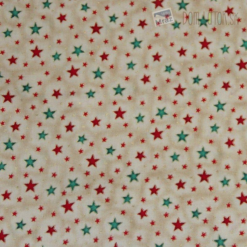 Vianočné bavlna smotanová s hviezdičkami  3cd310b4427