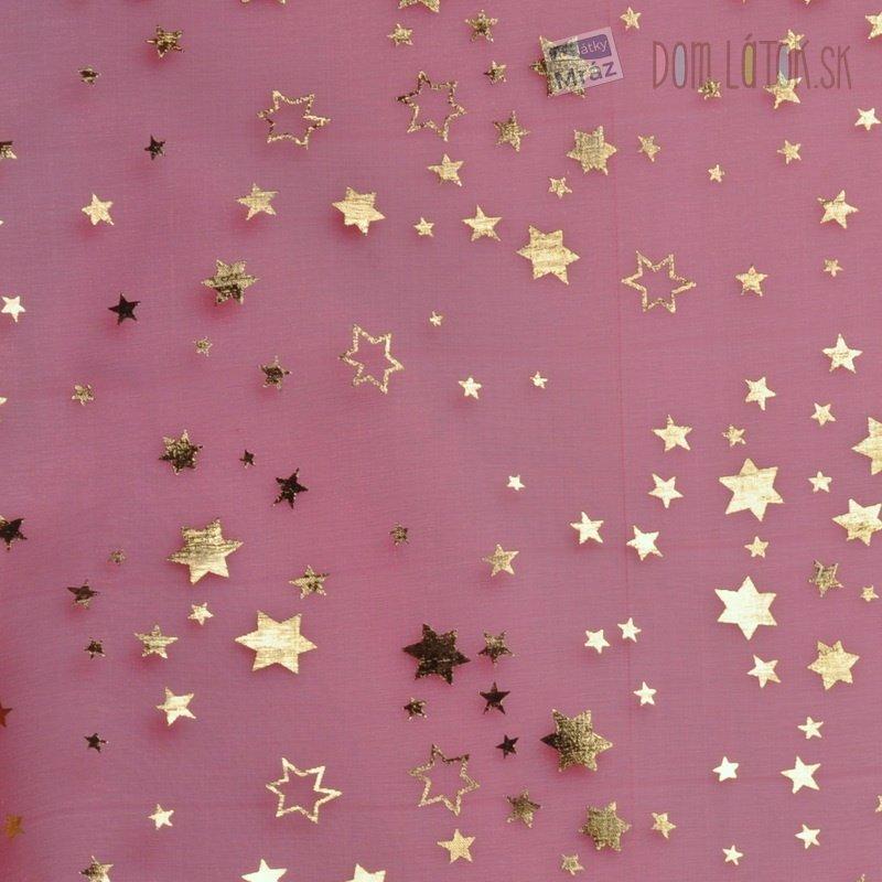 22fdf44a6380 Organza červená so zlatými hviezdičkami ...