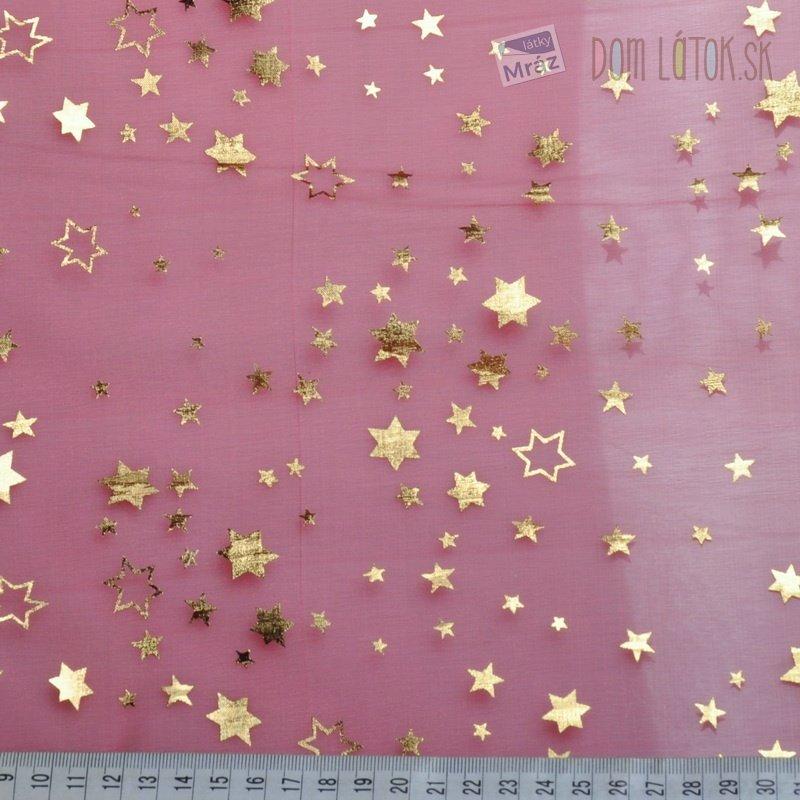 168599d8d91d ... Organza červená so zlatými hviezdičkami