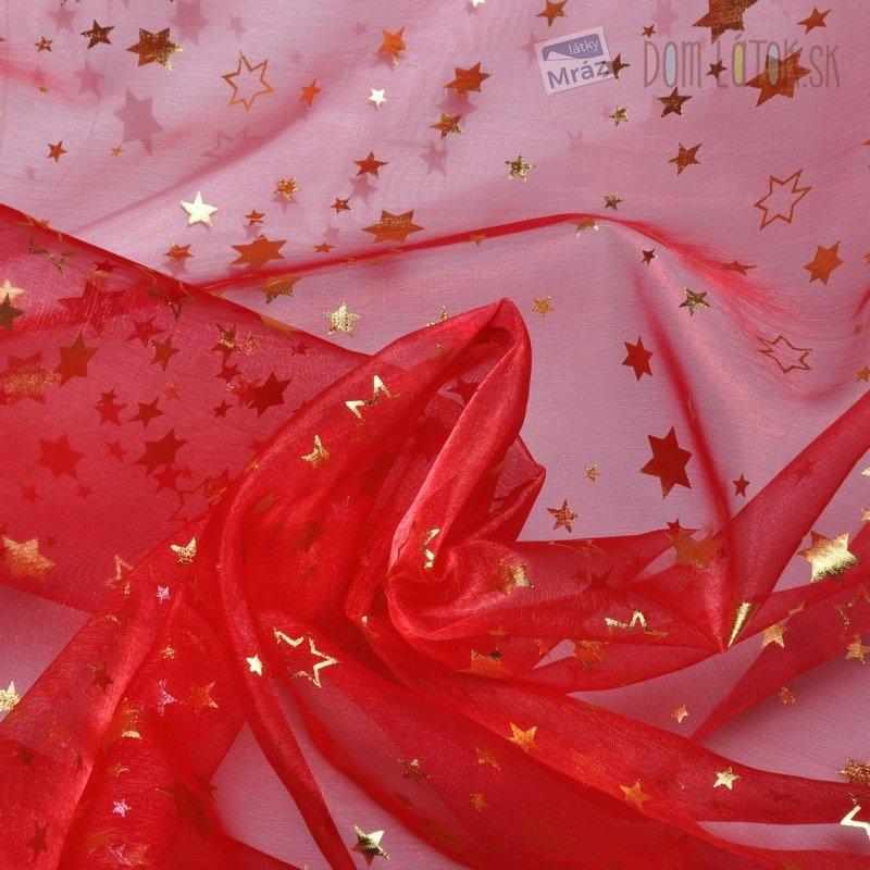 e9a119a95293 Organza červená so zlatými hviezdičkami Organza červená so zlatými ...