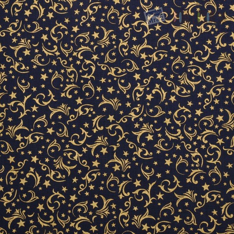 Vianočné bavlna temne modrá so zlatým vzorom  a1f09e18dee