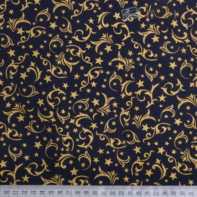 ... Vianočné bavlna temne modrá so zlatým vzorom 8e1a399a88f