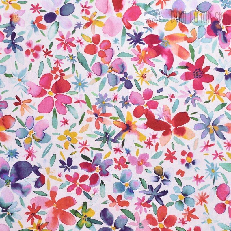 5686c00c24b1 Bavlnený popelín s kvetmi