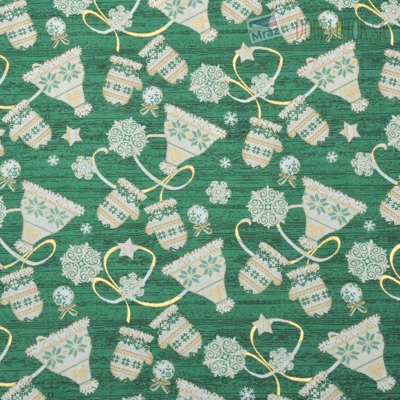 Vianočné bavlna zelená s obrázkami  f092c45fa68
