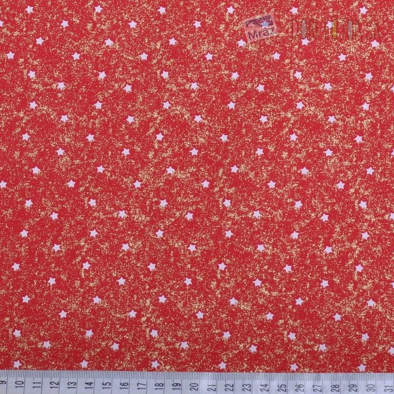 ... Vianočné bavlna červená s hviezdičkami f4117575e03