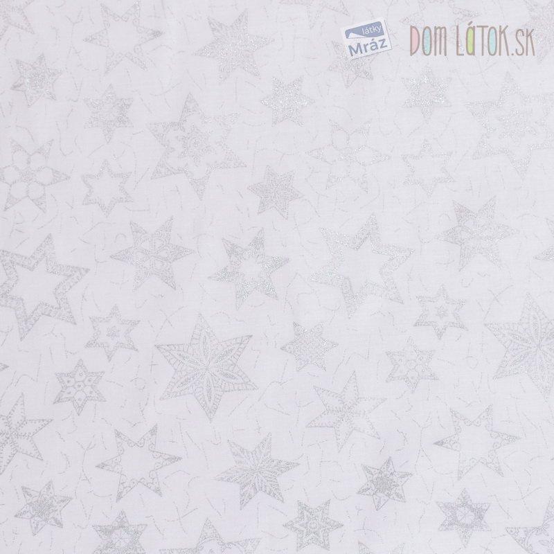 Vianočná bavlna so striebornými hviezdami ... 0757bc18af3