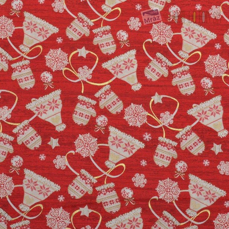 Vianočné bavlna červená s čiapkami a rukavicami  98ecaf3deae