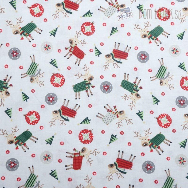 Vianočný bavlna biela s obrázkami  d8bad524630