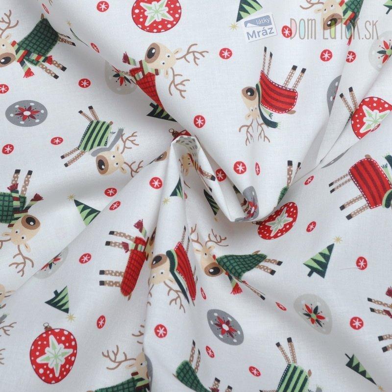 ... Vianočný bavlna biela s obrázkami a393274717a