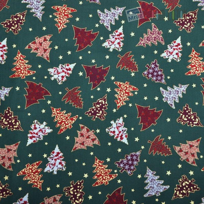 Vánoční bavlna zelená se stromečky  391a530de1b