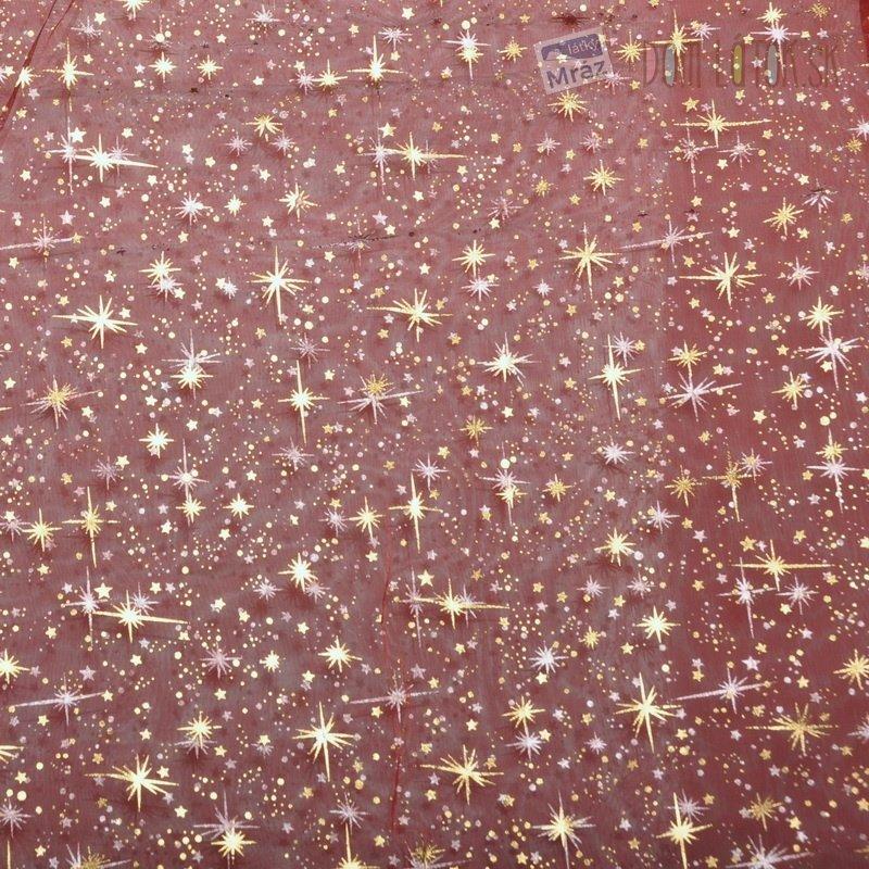c12f3c1543d6 Organza červená s hviezdičkami Organza červená s ...